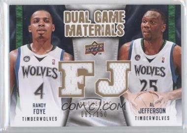 2009-10 Upper Deck Dual Game Materials Gold #DG-FJ - Al Jefferson, Randy Foye /150