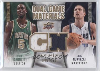 2009-10 Upper Deck Dual Game Materials Gold #DG-GN - Kevin Garnett, Dirk Nowitzki /150