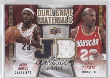 2009-10 Upper Deck Dual Game Materials Gold #DG-JD - LeBron James, Clyde Drexler /150