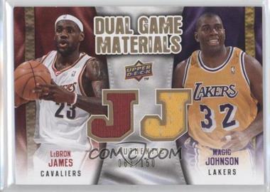 2009-10 Upper Deck Dual Game Materials Gold #DG-JJ - Magic Johnson, LeBron James /150