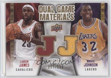2009-10 Upper Deck Dual Game Materials Gold #DG-JJ - Magic Johnson, LeBron James /150