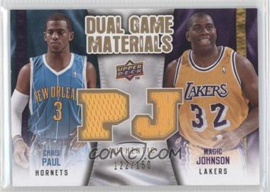 2009-10 Upper Deck Dual Game Materials Gold #DG-JP - Magic Johnson, Chris Paul /150