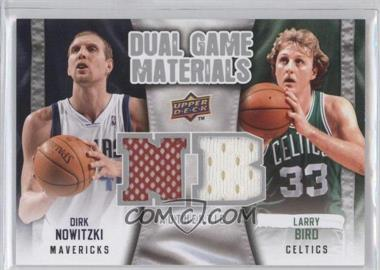 2009-10 Upper Deck Dual Game Materials #DG-NB - Dirk Nowitzki, Larry Bird