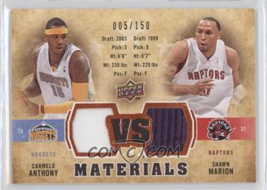 2009-10 Upper Deck VS Dual Materials Gold #VS-MA - Carmelo Anthony, Shawn Marion /150
