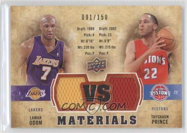 2009-10 Upper Deck VS Dual Materials Gold #VS-OP - Lamar Odom, Tayshaun Prince /150
