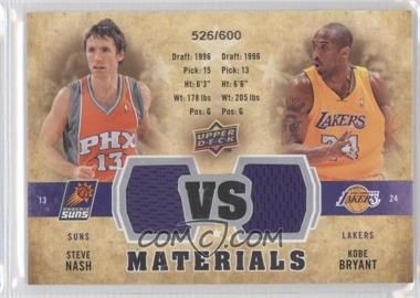 2009-10 Upper Deck VS Dual Materials #VS-BN - Steve Nash, Kobe Bryant /600