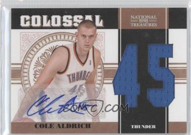 2010-11 Playoff National Treasures Colossal Materials Jersey Number Signatures [Autographed] #36 - Cole Aldrich /49