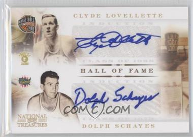 2010-11 Playoff National Treasures Hall of Fame Signatures Combos #4 - Clyde Lovellette, Dolph Schayes /50
