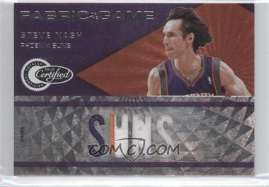 2010-11 Totally Certified Fabric of the Game Jumbo Materials Team Name Prime #28 - Steve Nash /25