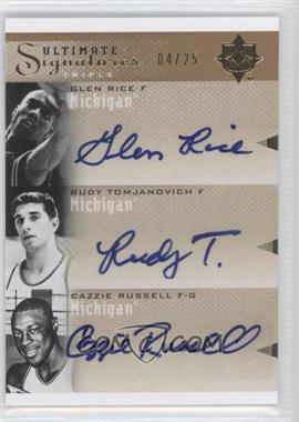 2010 Ultimate Collection - Ultimate Signatures Triple - [Autographed] #T-UOM - Cazzie Russell, Rudy Tomjanovich, Glen Rice /25