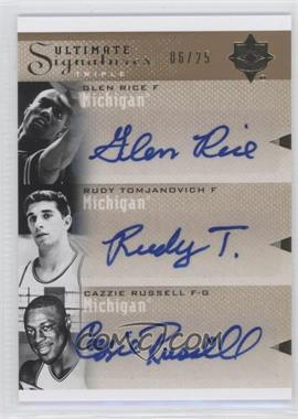 2010 Ultimate Collection Ultimate Signatures Triple [Autographed] #T-UOM - Rudy Tomjanovich, Cazzie Russell, Glen Rice /25
