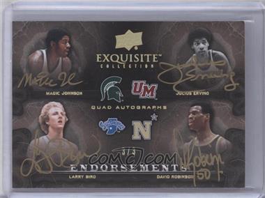 2011-12 Exquisite Collection - Endorsements Quad Autographs - Gold Spectrum #EE4-JEBR - Julius Erving, Larry Bird, Magic Johnson, David Robinson /3