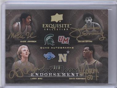 2011-12 Exquisite Collection Endorsements Quad Autographs Gold Spectrum #EE4-JEBR - Marion Jones, Julius Erving, Larry Bird, Danielle Robinson /3