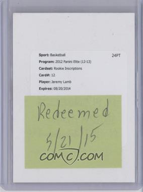 2012-13 Elite Rookie Inscriptions #12 - Jeremy Lamb [REDEMPTION Being Redeemed]