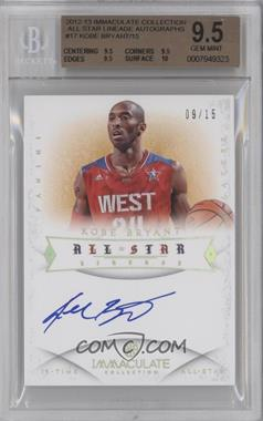 2012-13 Panini Immaculate Collection - All-Star Lineage - [Autographed] #AS-KB - Kobe Bryant /15 [BGS9.5]