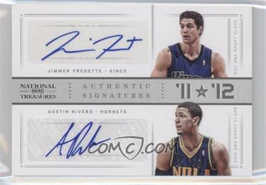 2012-13 Panini National Treasures '11 vs '12 Signatures Silver #10 - Austin Rivers, Jimmer Fredette /49