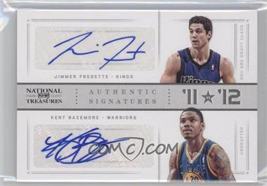 2012-13 Panini National Treasures '11 vs '12 Signatures Silver #40 - Jimmer Fredette, Kent Bazemore /25