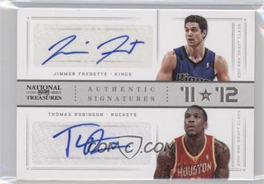 2012-13 Panini National Treasures '11 vs '12 Signatures Silver #62 - Jimmer Fredette, Thomas Robinson /25