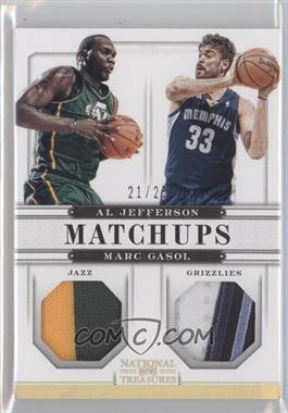 2012-13 Panini National Treasures Matchups Materials Prime #43 - Al Jefferson, Marc Gasol /25