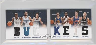 2012-13 Panini Preferred Buckets Material Booklet #3 - Jimmer Fredette, Klay Thompson, Manu Ginobili, Norris Cole, Peja Stojakovic, Ray Allen, Mark Price /199