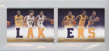 2012-13 Panini Preferred Lakers Material Booklet #1 - Robert Sacre, Darius Johnson-Odom, Darius Morris, Kobe Bryant, Metta World Peace, Pau Gasol /199