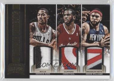 2012-13 Panini Threads Triple Threats Materials Prime #18 - Chris Paul, Derrick Rose, Deron Williams /25