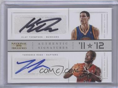 2012-13 Playoff National Treasures '11 vs '12 Signatures Gold #44 - Klay Thompson, Terrence Ross /25