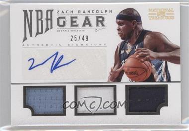 2012-13 Playoff National Treasures NBA Gear Combos Triple Autograph [Autographed] #18 - Zach Randolph /49