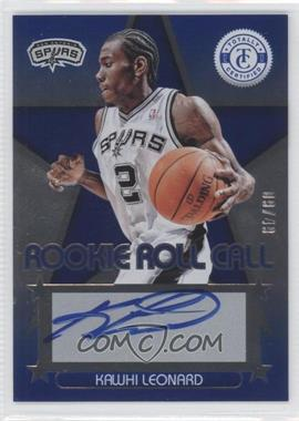 2012-13 Totally Certified Rookie Roll Call Blue [Autographed] #1 - Kawhi Leonard /49