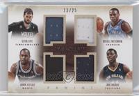 Arron Afflalo, Jrue Holiday, Kevin Love, Russell Westbrook /25