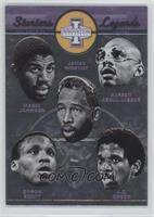 A.C. Green, Byron Scott, James Worthy, Kareem Abdul-Jabbar, Magic Johnson