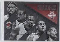 Chris Bosh, Dwyane Wade, LeBron James, Mario Chalmers, Shane Battier