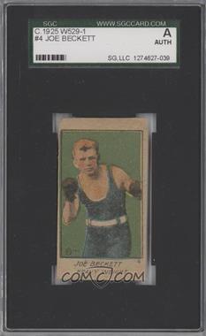 1920-25 W529 Strip Card - [Base] - Type 1 #4 - Joe Beckett [SGCAUTHENTIC]