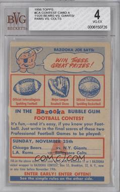 1956 Topps Bazooka Contest #4 - Chicago Bears Team, New York Giants Team, Los Angeles Rams, Baltimore Colts Team [BVG 4]