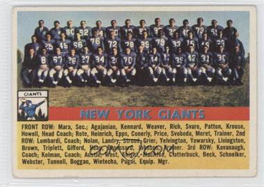 1956 Topps #113 - New York Giants Team