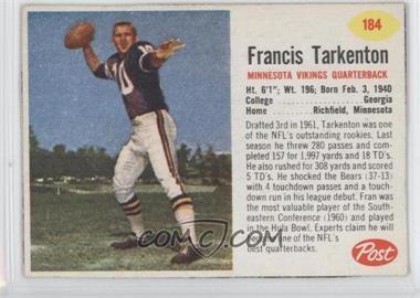 1962 Post #184 - Francis Tarkenton