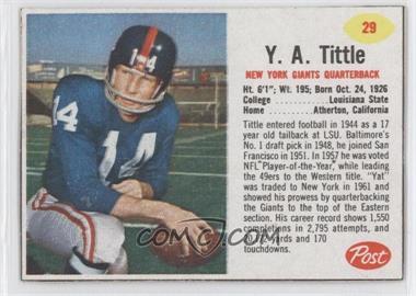 1962 Post #29 - Y.A. Tittle