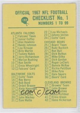 1967 Philadelphia #197 - Checklist No. 1