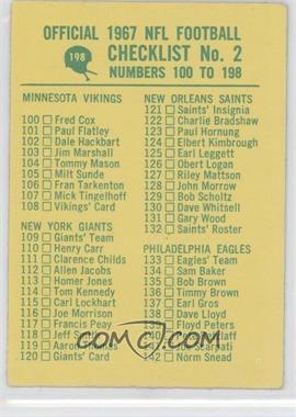 1967 Philadelphia #198 - Checklist
