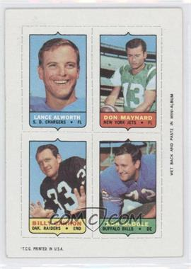 1969 Topps Mini-Cards (4-in-1) #AMCM - Lance Alworth, Don Maynard, Billy Cannon, Ron McDole
