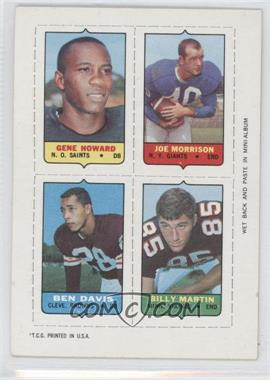 1969 Topps Mini-Cards (4-in-1) #HMDM - Gene Howard, Joe Morrison, Ben Davis, Billy Martin
