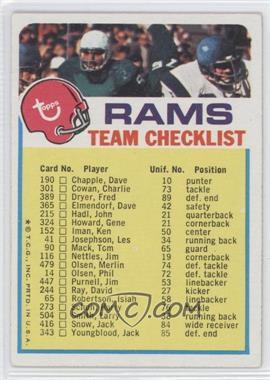 1973 Topps Team Checklists - [Base] #LA - Los Angeles Rams