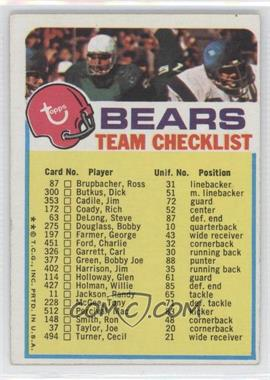 1973 Topps Team Checklists #ChB - Chicago Bears