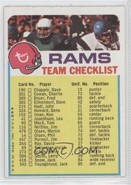 1973 Topps Team Checklists #LA - Los Angeles Rams