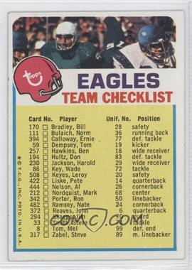 1973 Topps Team Checklists #PE - Philadelphia Eagles