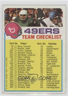 1973 Topps Team Checklists #SF - San Francisco 49ers