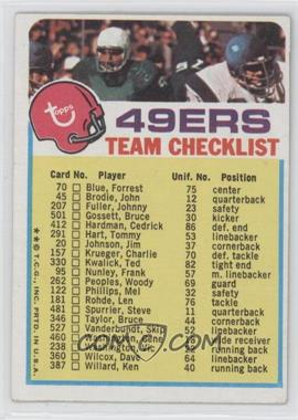 1973 Topps Team Checklists #SF - San Francisco 49ers
