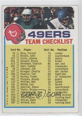 1973 Topps Team Checklists #SFF - San Francisco 49ers