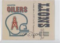 Houston Oilers Logo, Detroit Lions