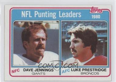 1981 Topps #6 - Dave Jennings, Luke Prestridge